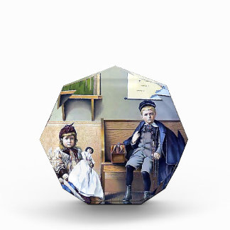 Vintage Railroad Train Station Girl Boy Children Acrylic Award