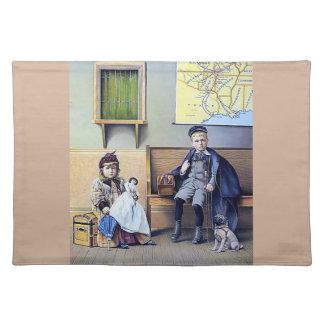 Vintage Railroad Train Station Girl Boy Children Placemat