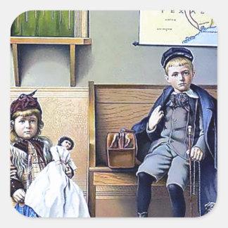 Vintage Railroad Train Station Girl Boy Children Square Sticker