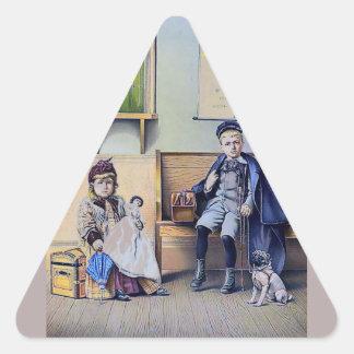 Vintage Railroad Train Station Girl Boy Children Triangle Sticker