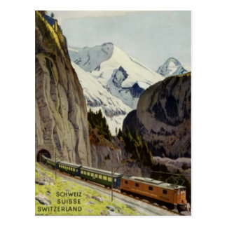 Vintage Railroad Vacation in Switzerland Postcard