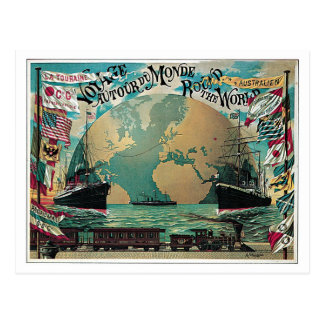 Vintage railway and sea travel world map ad postcard