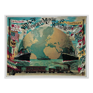 Vintage railway and sea travel world map ad print