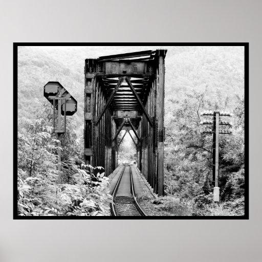 vintage railway bridge man versus nature poster
