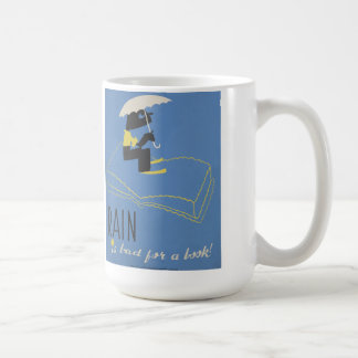 "Vintage ""Rain is Bad for a Book"" WPA Poster Mug"