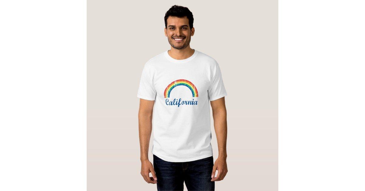 White Shirt With Rainbow California Design