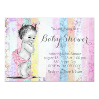 Vintage Rainbow Girl Baby Shower Card