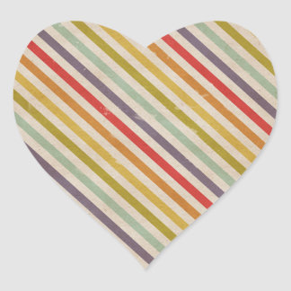 Vintage Rainbow Rustic Grunge Colorful Heart Sticker