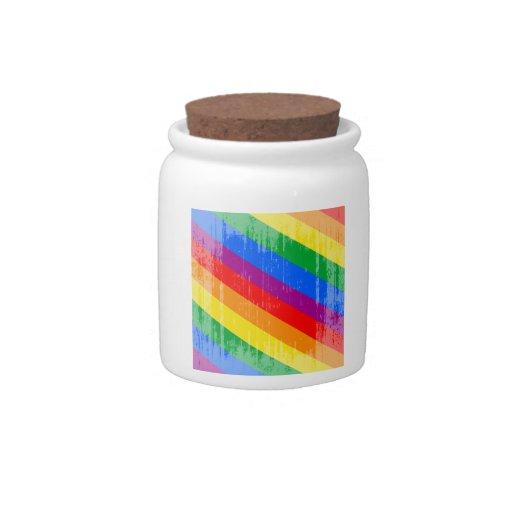Vintage Rainbow Stripes Candy Dish