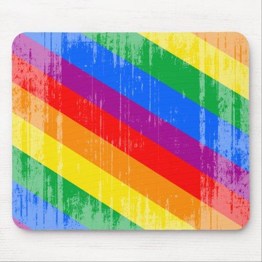 Vintage Rainbow Stripes Mouse Pad