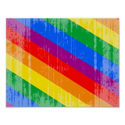 Vintage Rainbow Stripes Poster