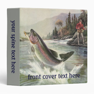 Vintage Rainbow Trout Fish, Fisherman Fishing 3 Ring Binder