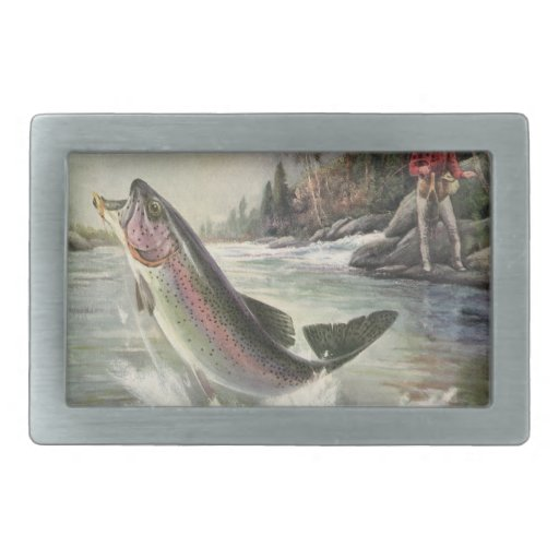 Vintage Rainbow Trout  Fish Fisherman Fishing Belt Buckles