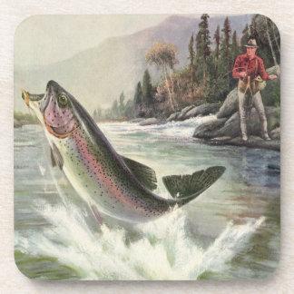 Vintage Rainbow Trout Fish, Fisherman Fishing Beverage Coaster