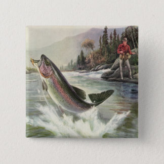 Vintage Rainbow Trout Fish, Fisherman Fishing Button