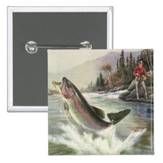Vintage Rainbow Trout Fish Fisherman Fishing 2 Inch Square Button