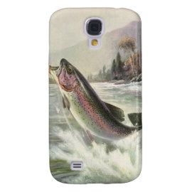 Vintage Rainbow Trout  Fish Fisherman Fishing Samsung Galaxy S4 Case