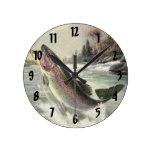 Vintage Rainbow Trout  Fish Fisherman Fishing Round Wallclock