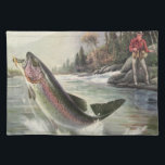 """Vintage Rainbow Trout Fish, Fisherman Fishing Cloth Placemat<br><div class=""""desc"""">Vintage illustration sports design featuring a fisherman fishing in a river. A rainbow trout is splashing and jumping out of the water.</div>"""