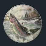"Vintage Rainbow Trout Fish, Fisherman Fishing Dart Board<br><div class=""desc"">Vintage illustration sports design featuring a fisherman fishing in a river. A rainbow trout is splashing and jumping out of the water.</div>"