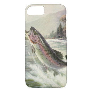 Vintage Rainbow Trout Fish, Fisherman Fishing iPhone 7 Case