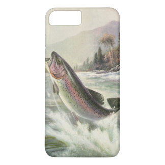 Vintage Rainbow Trout Fish, Fisherman Fishing iPhone 8 Plus/7 Plus Case