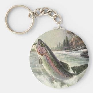 Vintage Rainbow Trout Fish, Fisherman Fishing Keychain