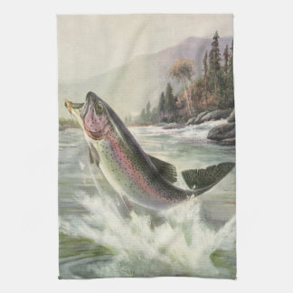 Vintage Rainbow Trout Fish Fisherman Fishing Hand Towels