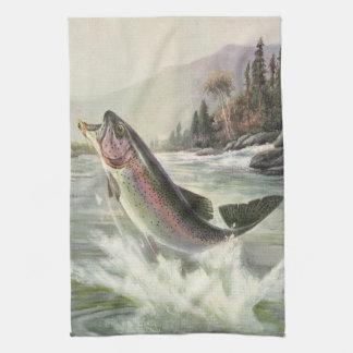 Vintage Rainbow Trout Fish, Fisherman Fishing Kitchen Towel