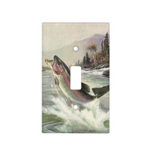 Vintage Rainbow Trout  Fish Fisherman Fishing Switch Plate Covers