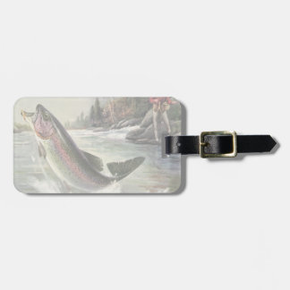 Vintage Rainbow Trout Fish, Fisherman Fishing Luggage Tag