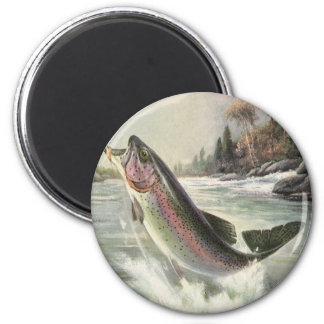 Vintage Rainbow Trout Fish, Fisherman Fishing Magnet