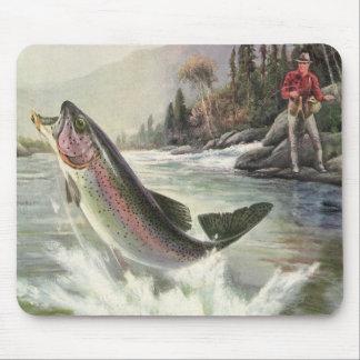 Vintage Rainbow Trout Fish, Fisherman Fishing Mouse Pad
