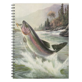 Vintage Rainbow Trout Fish Fisherman Fishing Notebook