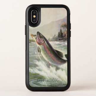 Vintage Rainbow Trout Fish, Fisherman Fishing OtterBox Symmetry iPhone X Case