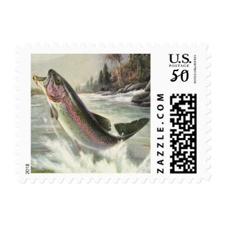 Vintage Rainbow Trout Fish, Fisherman Fishing Postage