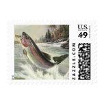 Vintage Rainbow Trout Fish Fisherman Fishing Postage