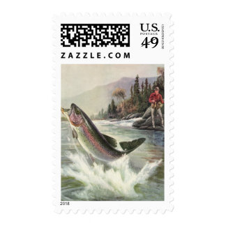 Vintage Rainbow Trout Fish, Fisherman Fishing Postage
