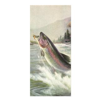 Vintage Rainbow Trout Fish, Fisherman Fishing Rack Card