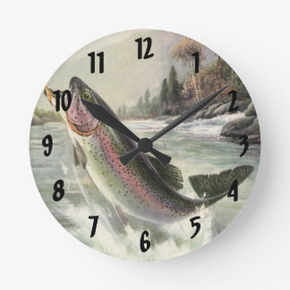 Vintage Rainbow Trout Fish, Fisherman Fishing Round Clock