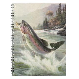 Vintage Rainbow Trout Fish, Fisherman Fishing Spiral Notebook
