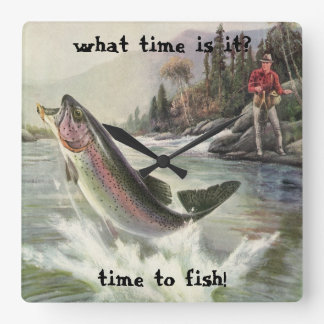 Vintage Rainbow Trout Fish, Fisherman Fishing Square Wall Clock