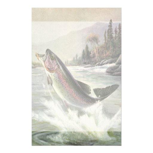 Vintage Rainbow Trout  Fish Fisherman Fishing Stationery