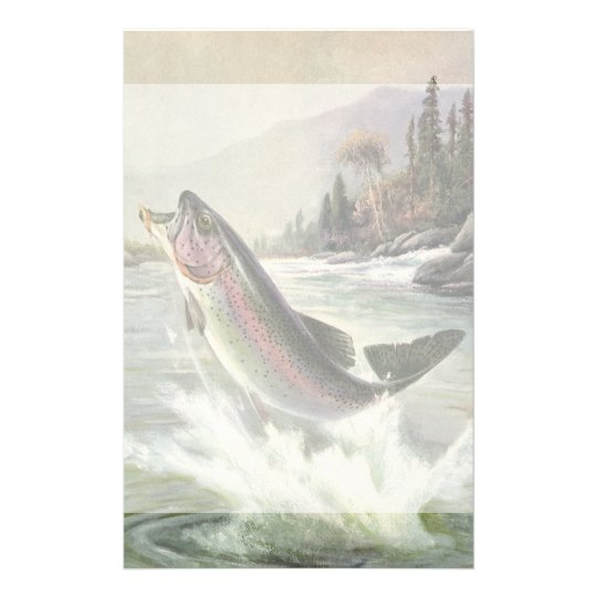Vintage Rainbow Trout Fish, Fisherman Fishing Stationery
