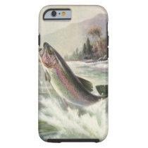 Vintage Rainbow Trout Fish, Fisherman Fishing Tough iPhone 6 Case