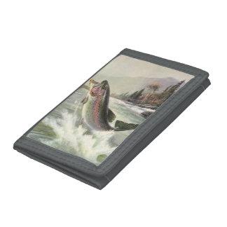 Vintage Rainbow Trout Fish, Fisherman Fishing Tri-fold Wallet