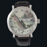 "Vintage Rainbow Trout Fish, Fisherman Fishing Wrist Watch<br><div class=""desc"">Vintage illustration sports design featuring a fisherman fishing in a river. A rainbow trout is splashing and jumping out of the water.</div>"