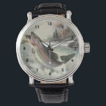 """Vintage Rainbow Trout Fish, Fisherman Fishing Wrist Watch<br><div class=""""desc"""">Vintage illustration sports design featuring a fisherman fishing in a river. A rainbow trout is splashing and jumping out of the water.</div>"""