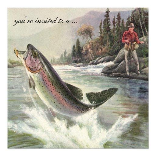 Vintage Rainbow Trout Fish Fisherman, Retirement Personalized Announcements