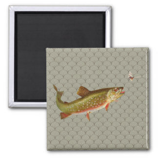 Vintage rainbow trout fly fishing illustration art magnet